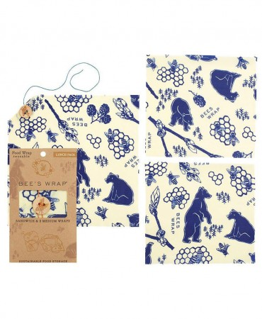 BEE'S WRAP Κερομάντηλα, Bees+Bears Lunch Pack 3 TEM.