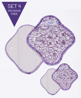 GΑΙΑ pads Σερβιετάκια υφασμάτινα SET 4 τεμ.- PURPLE (Package-free)