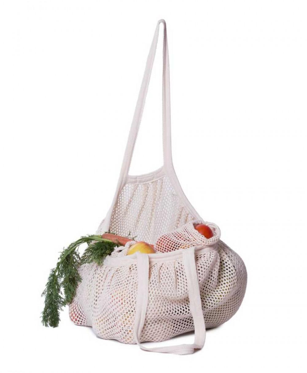 67ec9e26f81 STARNET Bag, Τσάντα με πυκνό δίχτυ από βιολογικό βαμβάκι - Natural ...